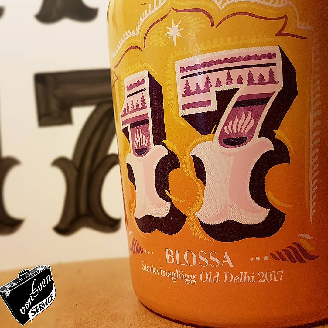 Well this turned out good and tasty! blossa' s 2017 edition collectable glögg bottle. great design and concept by handbrushed by me. look close and you'll see it's screenprinted analog with rastoration to show the strokes. well done