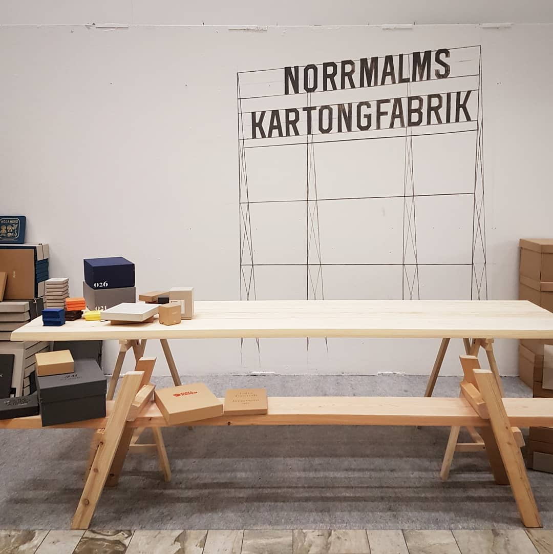 Super fun industrial wall paint for  Norrmalms Kartong @jpwilliams ! All freehand sketched on the wall design modified from an original