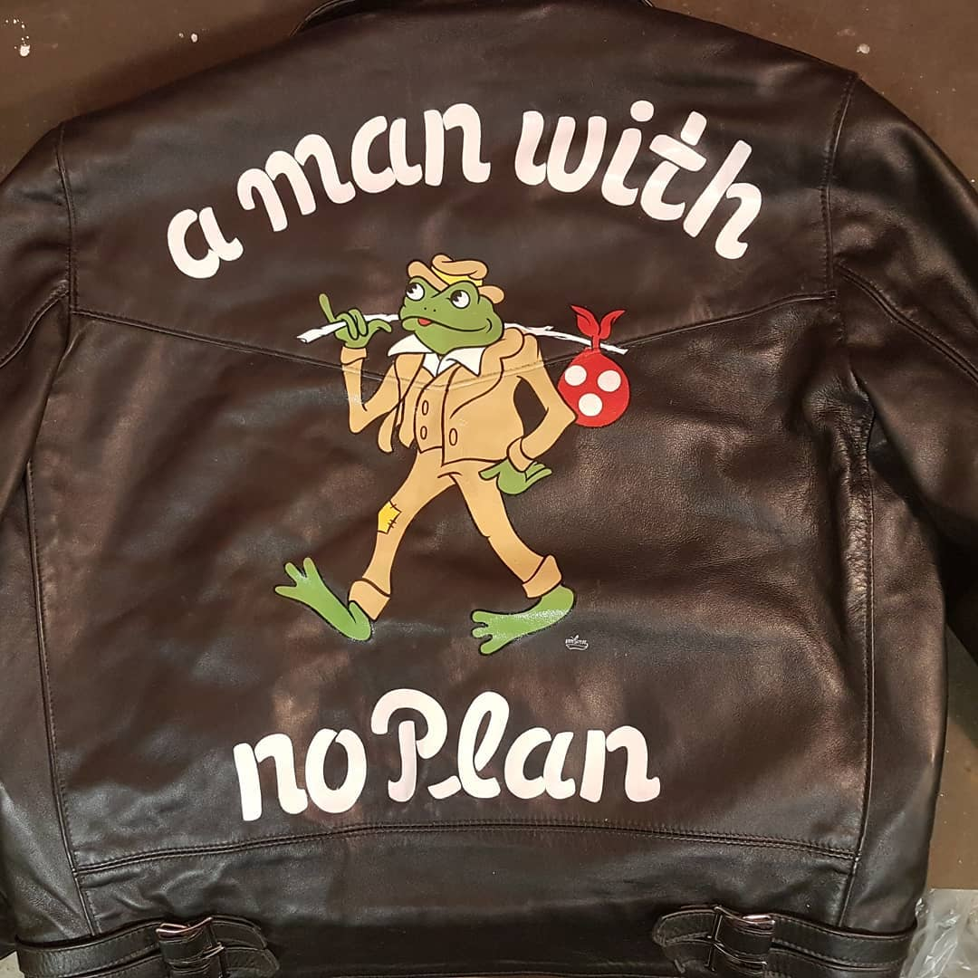 """A man with no plan"" original design for @rn182 painted enamel on a MC leather jacket, thanks for the support Ryo"