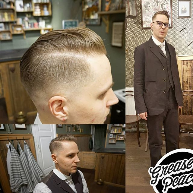 thanks to kristoffer @elblakri for stopping for a cut … and reminding us it's it's called suit up Saturday for a reason :) .. love, peace and hair grease !!